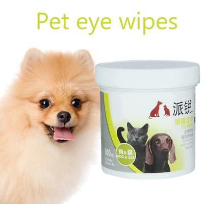 100pcs Pet Eye Wet Wipes Cat Dog Tear Stain Remover Cleaning Grooming Towels