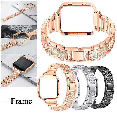 For Fitbit Blaze Tracker Stainless Steel Crystal Watch Strap Band Wrist + Frame