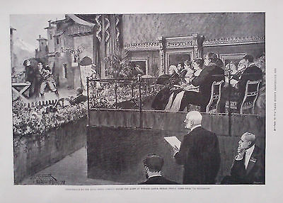 """1894 Print Scene From """"la Navarraise"""" Before The Queen At Windsor Castle"""