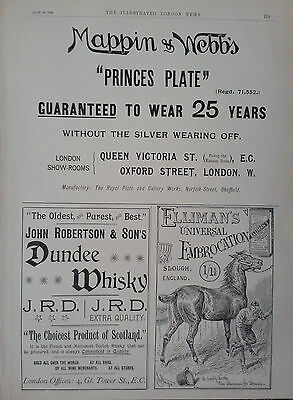 1894 Advert Mappin & Webb-John Robertson's Dundee Whisky-Elliman's Embrocation
