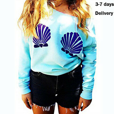 Womens T shirt One Shoulder Mermaid Printing Long Sleeve Autumn Casual Tops US