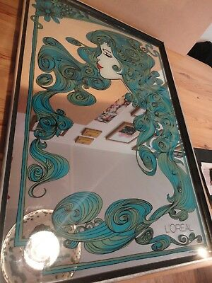 Large Vintage 70's French Loreal Advertising Picture Mirror Free Delivery