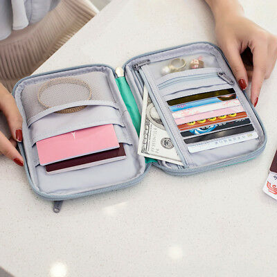 Travel Bag Wallet Document Organizer Hanging Zipped Passport Tickets ID Holder