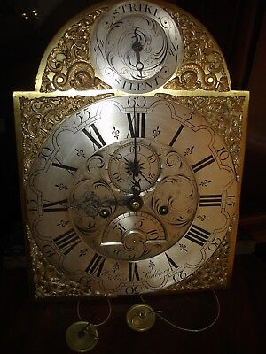 18th CENTURY   LONGCASE CLOCK DIAL AND MOVEMENT WILLIAM RAY  ((SUDBURY))