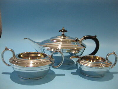 Beautiful Antique Silver Plate Art Deco Style Tea Pot With Milk Jug & Suger Bowl