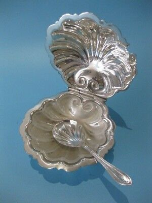 Beautiful Little Antique Silver Plated Clam Shell Domed Caviar Dish With Liner