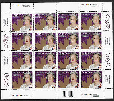 Canada - Full Pane of 16 - 50th Coronation of the Queen Elizabeth II #1987 - MNH