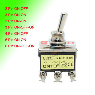 2/3/4/6 Pin On/Off , On/On , On/Off/On Toggle Switch 15A250V Silver Contact 12mm
