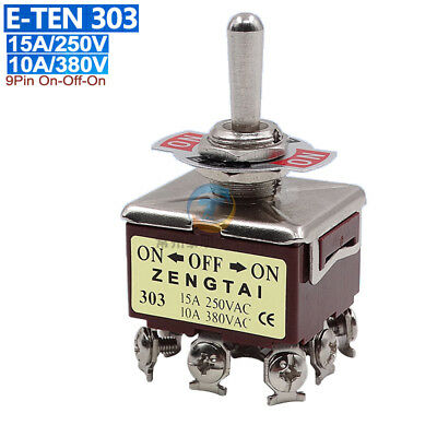12mm 9Pin On-Off-On Toggle Switch 15A250V Latching E-TEN 303 Copper Contact