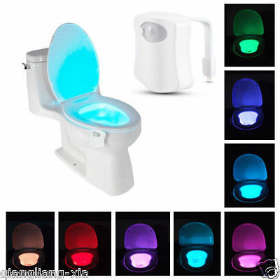 8-Color LED Motion Sensing Automatic Toilet Bowl Night Light  hot