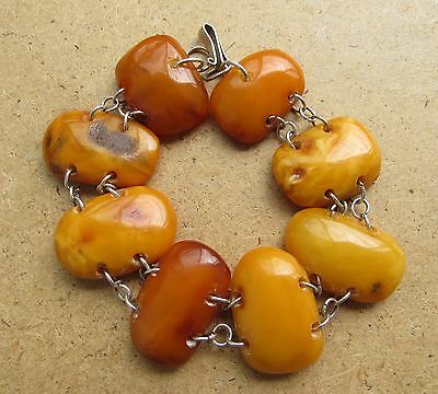 Natural Antique Baltic Vintage Amber OLD top quality EGG YOLK Bracelet 26 g.