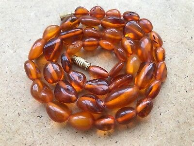 Old Geniune Natural Antique Baltic Vintage Amber jewelry stone Necklace Gem