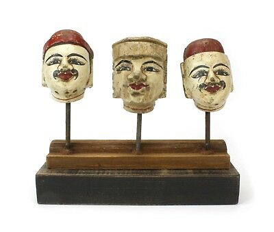 Antique Burmese Puppet heads on stand, BPH002. Vintage Marionette from Burma.