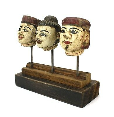 Antique Burmese Puppet heads on stand, BPH001. Vintage Marionette from Burma.