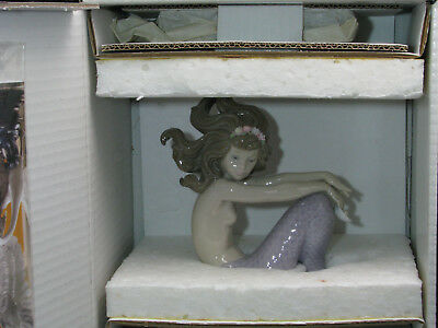 """Lladro Mermaid 1413 Pearl w/Stand Never Out of Original Box Mint """"Illusion"""""""