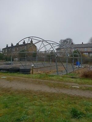Poly tunnel frame and fittings part built on wheels. Sliding polytunnel frame