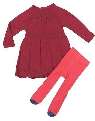 6bc4272ca8394 Ex Mothercare Baby Girl Maroon Red Knit Dress & Tights Outfit 3 6 9 12 18