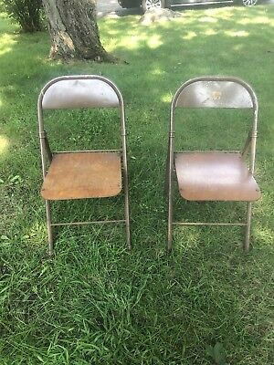 Vintage Metal Folding Chairs With Original Shaped Wood Seats. Antique Chairs