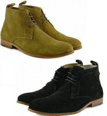 Mens Suede Leather Retro Casual Lace Chukka Boots Smart Office Shoes Size Uk7 13