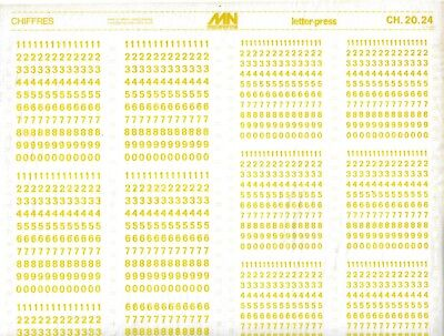 MECANORMA Transfers Lettering A3, #282 Fonts, Numbers, CHAFFERS YELLOW 5/6mm