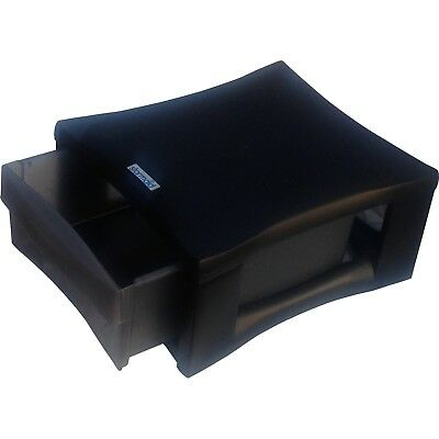 Stackable Drawers Plastic Storage Box Large Organiser Black Clear Office Desk