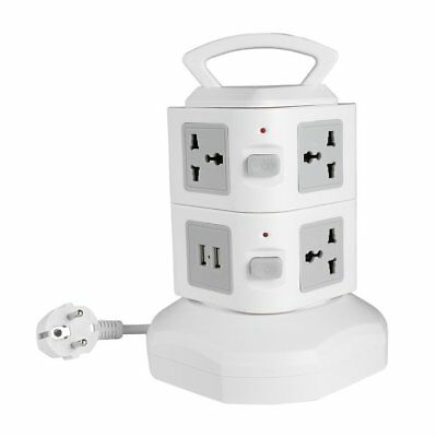 Smart Tower Strip Extension Lead Socket 7 Way Plus 4 USB Port  Vertical Mains UK