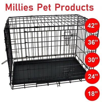 Great Pet Cage Metal Dog Puppy Training Folding Crate Animal Transport With Tray