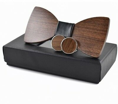 Men Fashion Wooden Bow Tie Accessory Wedding Gift Bamboo Wood Bowtie + Cufflinks
