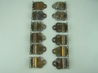 12 Antique Brass Plated Hoosier Cabinet Hinges