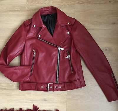 cd5ad1c3ccdf ZARA RED LEATHER Effect Biker Jacket Sz S -  67.00