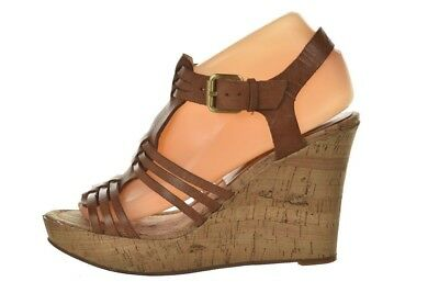 1e54f2cb6f5 Audrey Brooke Carina Womens Shoes Size 7.5 Brown Leather Platform Wedge  Sandals