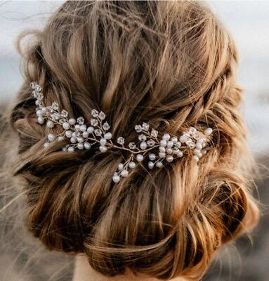 Hair Vine Bridal Wedding Crystals Rose Gold Rhinestone Headband Headpiece Tiara