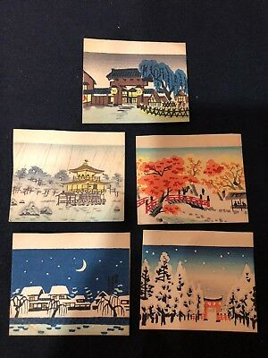 Vintage Antique Japanese Woodblock  Prints 5 Small Cards Pictures Kyoto Scenes