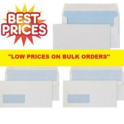 White Self Seal Plain & With Window Dl C5 C6 C4 Envelopes Strong Quality Letter