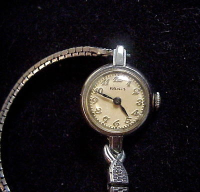 BLOEDEL'S Vintage MID CENTURY 14K Solid White Gold LADY'S WRISTWATCH Running