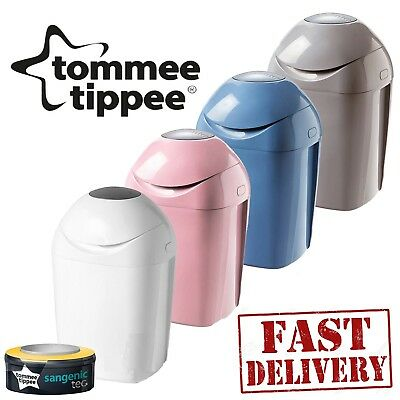 Tommee Tippee Sangenic Tec Nappy Disposal Tub Bin + 1 PRE-LOADED CASSETTE