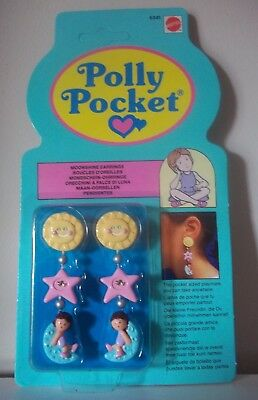 Bluebird Toys 1990 Vintage POLLY POCKET MOONSHINE EARRINGS - NEW IN PACKAGING