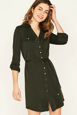 OASIS Luxe Long Sleeve Shirt Dress in Khaki Sizes XS to L