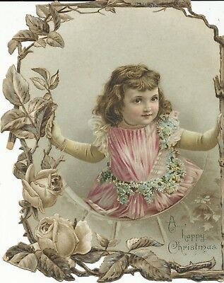 """1896 Antique Vintage Victorian Die Cut """"A Happy Christmas"""" Greeting Card"""