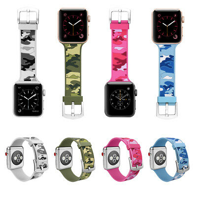 38/42mm Silicone Sports iWatch Band Camouflage Wrist Strap for Apple Watch 1 2 3