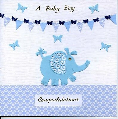 handcrafted handmade baby boy birth congratulations card