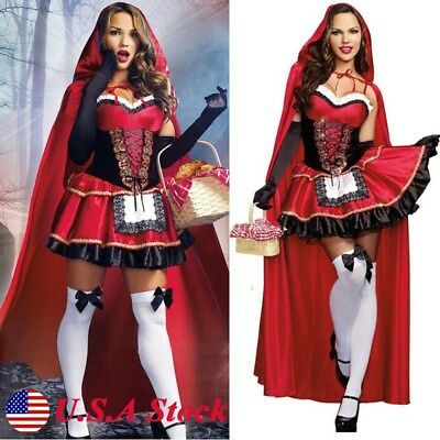 Little Red Riding Hood Costume Women Cosplay Adult Halloween COS Fancy Dress