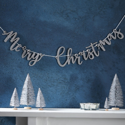 Silver Merry Christmas Wooden Garland