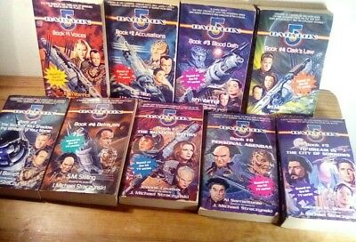 BABYLON 5 novels paperback book COMPLETE set 1 to 9 book lot 1995-1997