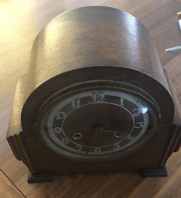 Vintage Solid Oak Bentima Mantle Clock - fully working: Chimes (and wind-up key)