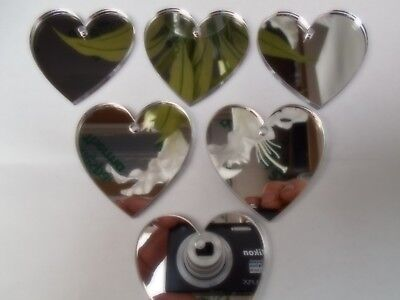 10 x 5cm Heart Shaped Acrylic silver Mirror Embellishments 3mm thick with hole