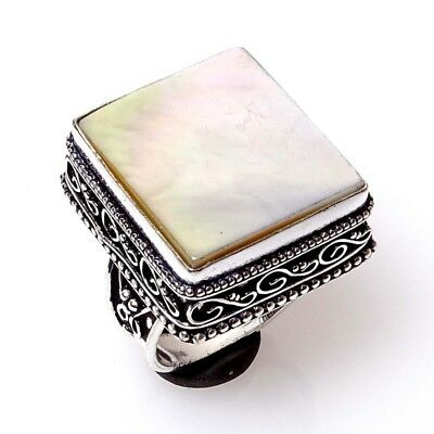 Natural Mother of Pearl Gemstone Handmade Vintage Ring S-7 E3564