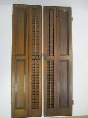 Antique Vtg Large Pair of Wooden WALNUT Louvered Inside Window Shutters