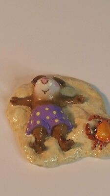 Wee Forest Folk  M-236 Alone at Last mouse on the beach purple polka dot 1998 DP