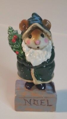 Wee Forest Folk  M-164 Father Chris-Mouse RARE green 1989 Annette Petersen